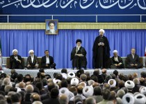"A handout picture released by the official website of the Iranian supreme leader Ayatollah Ali Khamenei on August 3, 2013, shows newly  elected President moderate cleric Hassan Rowhani giving a speech during his endorsment ceremony  in the capital Tehran, as Iranian supreme leader Ayatollah Ali Khamenei (C seated) and former president  Mahmoud Ahmadinejad (3rd L) listen on. The 64-year-old cleric begins his term as the Islamic republic's seventh president facing grave challenges abroad and at home over Iran's ailing economy and isolation resulting from the controversial policies of his predecessor, Mahmoud Ahmadinejad.  AFP PHOTO/HO/KHAMENEI.IR ===  RESTRICTED TO EDITORIAL USE - MANDATORY CREDIT ""AFP PHOTO / HO / KHAMENEI.IR"" - NO MARKETING NO ADVERTISING CAMPAIGNS - DISTRIBUTED AS A SERVICE TO CLIENTS  ===="