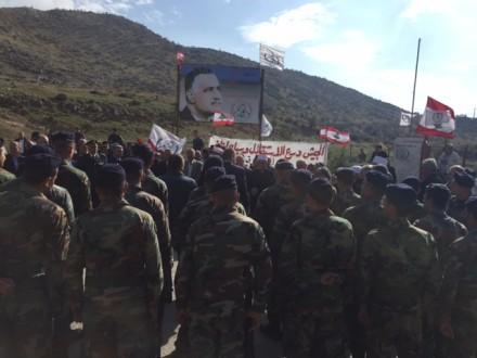 رفع العلم اللبناني عند بوابة مزارع شبعا المحتلة برعاية قهوجي