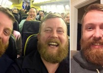 """Bearded traveller Neil Douglas (right) met his doppelganger Robert Stirling on a Ryanair flight after being randomly seated next to him BEST QUALITY AVAILABLE. Undated handout photo issued by Neil Thomas Douglas of two strangers who found themselves sitting next to each other on a flight. A man has spoken of the """"total weirdness"""" of encountering his doppelganger after boarding a flight to see him sitting in his seat. PRESS ASSOCIATION Photo. Issue date: Friday October 30, 2015. Neil Thomas Douglas, a photographer from Glasgow, was travelling to Galway via London Stansted last night when he came face to face with the bearded stranger. See PA story SOCIAL Doppelganger. Photo credit should read: Neil Thomas Douglas/PA Wire NOTE TO EDITORS: This handout photo may only be used in for editorial reporting purposes for the contemporaneous illustration of events, things or the people in the image or facts mentioned in the caption. Reuse of the picture may require further permission from the copyright holder."""