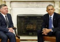 العاهل الأردني الملك عبد الله (إلى اليسار) اثناء اجتماع مع الرئيس الأمريكي باراك أوباما في البيت الأبيض بواشنطن - صورة من أرشيف رويترز.