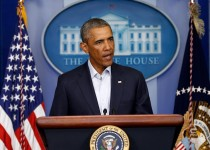 WASHINGTON, DC - AUGUST 18:  U.S. President Barack Obama gives a statement during a press conference in the Brady Press Briefing Room of the White House on August 18, 2014 in Washington, DC. Obama returned early from his vacation in Martha's Vineyard to hold meetings with his national security team and also with U.S. Attorney General Eric Holder in regards to the situation in Iraq and the continuing violence in Ferguson, Missouri.  (Photo by Win McNamee/Getty Images)