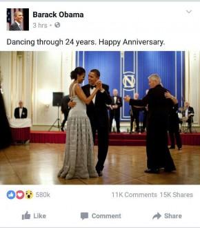 أوباما يرقص وزوجته بمناسبة عيد زواجهما الرابع و العشرون