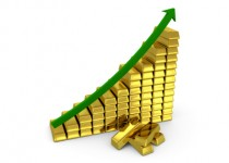 Chart depicing a growing trend of gold price. Isolated on white background.