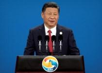 الرئيس الصيني شي جين بينغ يتحدث خلال مراسم افتتاح قمة مشروع طريق الحرير في بكين يوم الأحد. صورة لرويترز من ممثل وكالات أنباء.