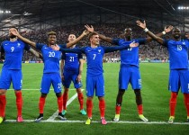 From left: France's forward Olivier Giroud, forward Kingsley Coman, defender Laurent Koscielny,  forward Antoine Griezmann, midfielder Paul Pogba, and defender Eliaquim Mangala celebrate after beating Germany 2-0 in the Euro 2016 semi-final football match between Germany and France at the Stade Velodrome in Marseille on July 7, 2016. France will face Portugal in the Euro 2016 finals on July 10, 2016. / AFP / FRANCK FIFE        (Photo credit should read FRANCK FIFE/AFP/Getty Images)
