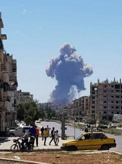 إرتفاع عدد إنفجارات مطار حماه العسكري إلى 7 إنفجارات