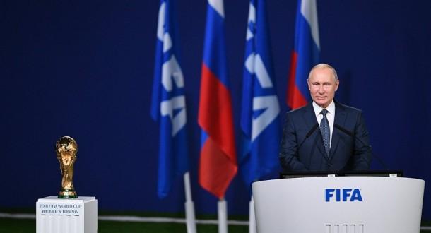 """بوتين يلقي كلمة في اجتماع """"الفيفا"""" الـ68 في موسكو"""
