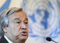 UN High Commissioner for Refugees (UNHCR) Antonio Guterres speaks during a press conference following a meeting to discuss the migrant crisis rocking Europe on August 26, 2015 at the UN Offices in Geneva. AFP PHOTO / FABRICE COFFRINI