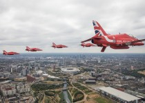 Members of the Red Arrows Royal Air Force Aerobatic Team fly over London, heading for Buckingham Palace, to mark the centenary of the Royal Air Force in central London, Britain July 10, 2018.  REUTERS/SAC Rose Buchanan RAF/MoD/Crown Copyright/Handout via REUTERS   ATTENTION EDITORS - THIS IMAGE HAS BEEN SUPPLIED BY A THIRD PARTY. NO RESALES. NO ARCHIVES