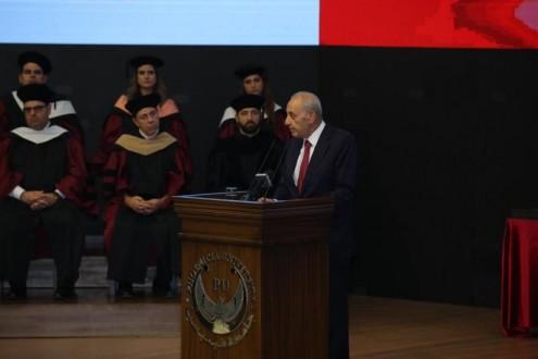 الرئيس بري في التخرج الأول لطلاب جامعة فينيسيا: لإجراء مصالحات سياسية ضماناً للعيش الواحد وسندافع عن مواردنا البحرية