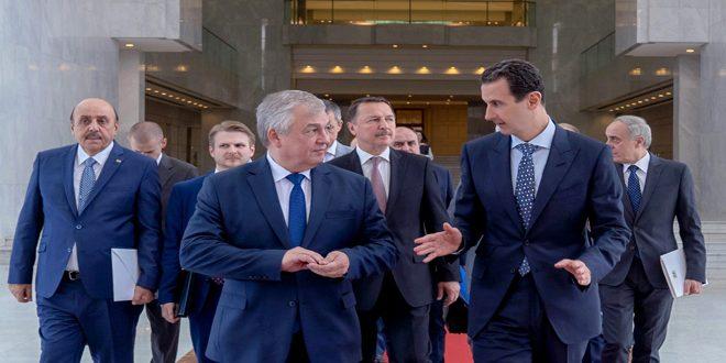 الأسد يلتقي لافرنتييف لبحث الحل السياسي في سوريا