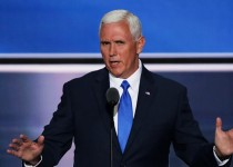 CLEVELAND, OH - JULY 20:  Republican Vice Presidential candidate Mike Pence delivers a speech on the third day of the Republican National Convention on July 20, 2016 at the Quicken Loans Arena in Cleveland, Ohio. Republican presidential candidate Donald Trump received the number of votes needed to secure the party's nomination. An estimated 50,000 people are expected in Cleveland, including hundreds of protesters and members of the media. The four-day Republican National Convention kicked off on July 18.  (Photo by Alex Wong/Getty Images)