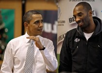 WASHINGTON, DC - DECEMBER 13:  (AFP OUT) U.S. President Barack Obama (L) talks with Kobe Bryant of the Los Angeles Lakers while filling care packages during a NBA Cares service event at the Boys and Girls Club at THEARC  December 13, 2010 in Washington, DC. Bryant and all the members of the 2010 NBA Championship Lakers team volunteered on projects at the club before being honored by the president for their victory.  (Photo by Chip Somodevilla/Getty Images)