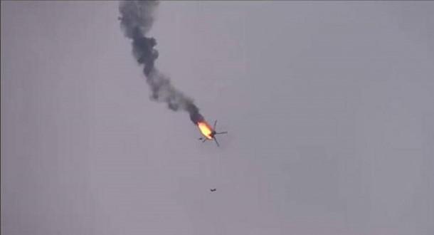 إسقاط طائرة مروحية للجيش السوري في ريف حلب الغربي شمالي سوريا